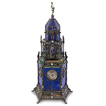 40. An Austrian silver, enamel and lapis lazuli mantel clock, probably by Hermann Böhm, Vienna, latter half of 19th Century.