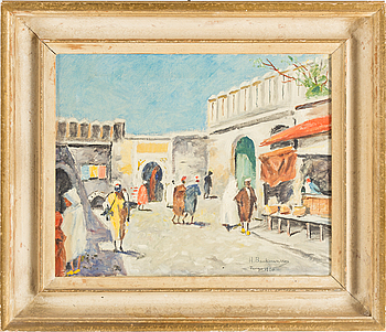 HUGO BACKMANSSON, Oil on canvas, signed and dated Tanger 1920.