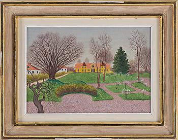 OSKAR BERGMAN, akvarell med täckvitt, signerad Oskar Bergman och daterad Röstånga Maj 1944.
