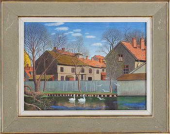 OSKAR BERGMAN, akvarell med täckvitt, signerad Oskar Bergman och daterad 1956 Upsala.