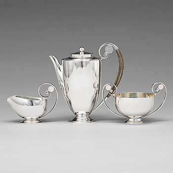 131. Johan Rohde, a set of three pieces of sterling coffee service, Georg Jensen, Copenhagen 1933-44, design nr 321 and 321A.