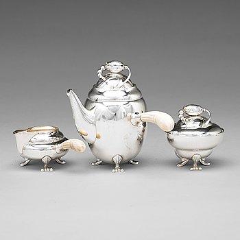 "126. Georg Jensen, a three pieces of ""Blossom"" sterling silver coffee service, Copenhagen 1933-51, design nr 2A and 2C (sugar bowl)."