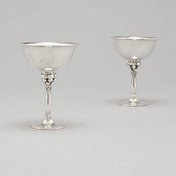 HARALD NIELSEN, cocktailglas, ett par, Georg Jensen, 1945-77, Danmark, sterlingsilver.
