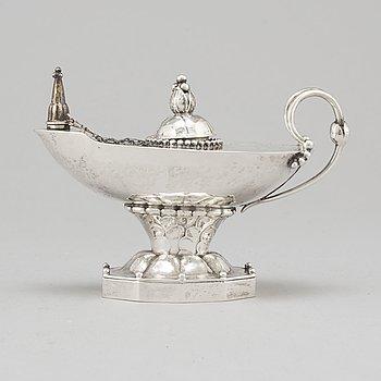 GEORG JENSEN, an 830/1000 silver table lighter/oil lamp, Denmark, 1919-21,