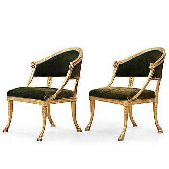 80. A pair of late Gustavian armchairs by Ephraim Ståhl (master in Stockholm 1794-1820).