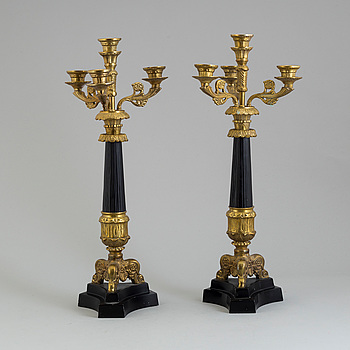 A pair of Empire style candelabras, mid 20th century.