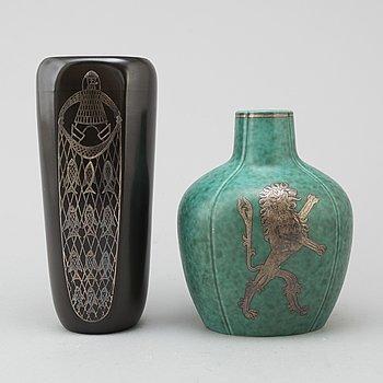 Two second quarter of the 20th cnetury vases by Willhelm Kåge and Sven Jonsson, Gustavsberg.