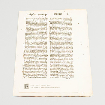 "VINCENT FERRER, INKUNABELBLAD  ur ""Sermones de tempore hiemali"", tryckt hos Heinrich Quentell, Köln 1485."