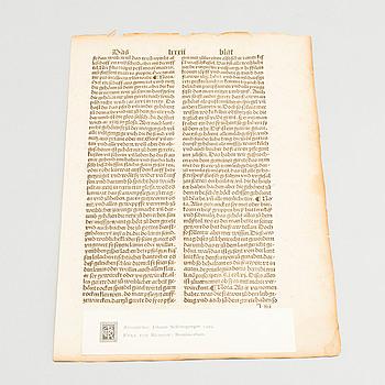 """EYKE VON REPGOW, INKUNABELBLAD  ur """"Remissorium"""" tryckt hos Johann SCHÖNSPERGER, Augsburg 1499."""