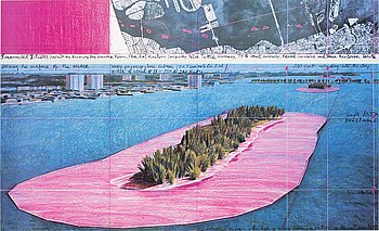 CHRISTO & JEANNE-CLAUDE, offset print in colors with application, signed.
