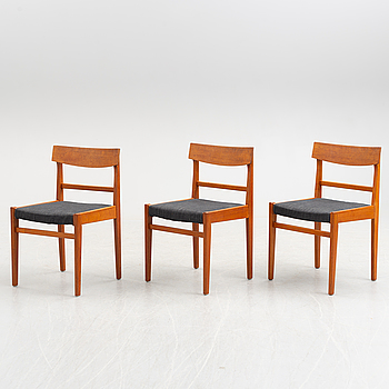 A set of three 1950's/60's teak chairs.
