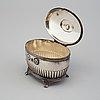 A swedish early 20th century silver sugar casket, mark of cg hallberg, stockholm 1908