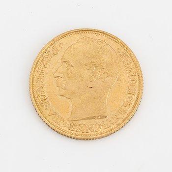 Gold coin 20 kroner Fredrik VIII, Denmark, 1908, weight 9 grams.