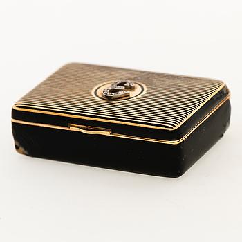 A CARTIER CASE, 18K gold, enamel, rose cut diamonds.