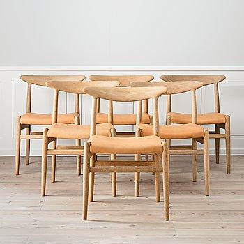 """HANS J WEGNER, stolar, 6 st, """"W2"""", CM Madsen Fabriker, Danmark."""