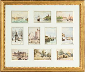 FREDRIK ISBERG, 10 st samramade akvareller, signerade.