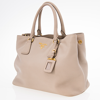 PRADA Pomice Vitello Daino Leather Hobo Bag.
