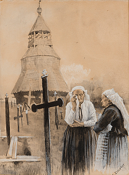"194. Albert Edelfelt, ALBERT EDELFELT, ""OLD WOMEN OUTSIDE THE CHURCH""."