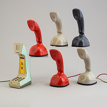 a set of six telephones by Ralp Lysell and GUstav Aring.