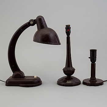 a set of three bakelite table lamps, ca 1930's.