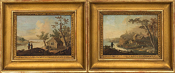 JOHAN PHILIP KORN, a set of two ascribed oil on panel.
