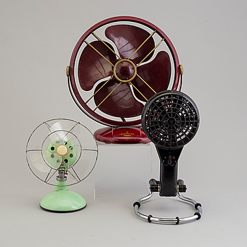 a set of three plastic and bakelite fans, mid 20th century.