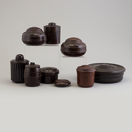 A set of nine swedish and english bakelite boxes, 1930's.