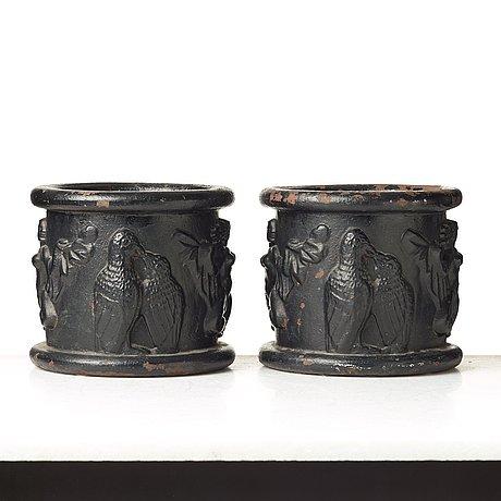 "Anna petrus, a pair of swedish grace cast iron jardinières ""blomkruka nr 1"", näfveqvarn, sweden."