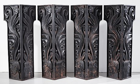 Anna petrus, four cast iron reliefs, näfveqvarn, sweden, pieces of a table designed for the metropolitan exhibition in new york 1927.