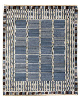 """219. Barbro Nilsson, MATTA, """"Salerno blå"""", rölakan, ca 331,5 x 273-275,5 cm, signerad AB MMF BN."""