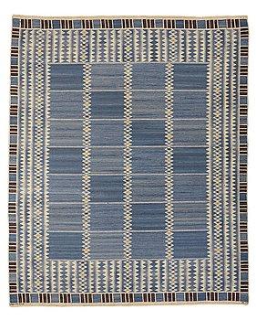 "219. Barbro Nilsson, A CARPET, ""Salerno blå"", flat weave, ca 331,5 x 273-275,5 cm, signed AB MMF BN."
