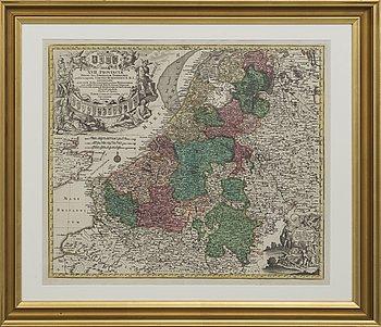 TOBIAS CONRADI LOTTER. Karta, koppargravyr, 1700-talets mitt.