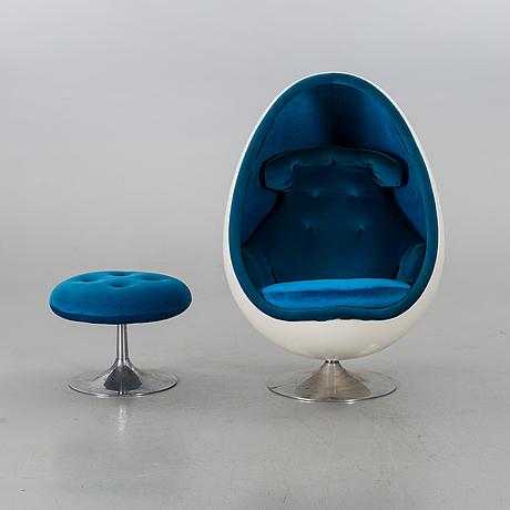 """Henrik thor-larsen, henrik thor-larsen, an """"ovalia"""" easy chair and ottoman, for torlan ab, sweden 1960-70's."""