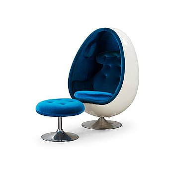 "49. Henrik Thor-Larsen, HENRIK THOR-LARSEN, an ""Ovalia"" easy chair and ottoman, for Torlan AB, Sweden 1960-70's."