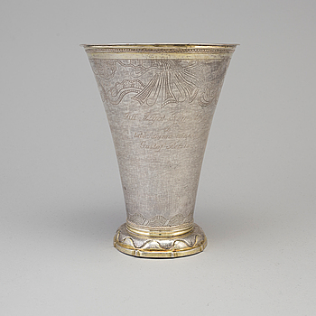 ERIK LEMON, a parcel-gilt silver vase from Uppsala, 1766.