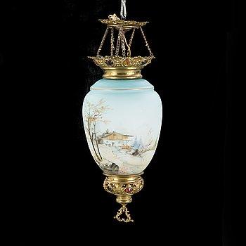 AMPEL/TAKLAMPA, mässing och målat glas, sent 1800 tal.