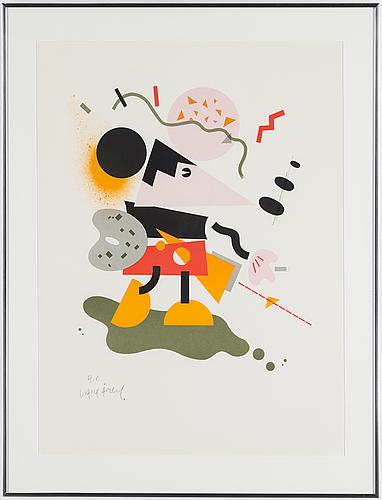 Lasse Åberg, litografi, signerad, hc upplaga
