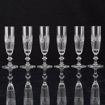 A set of six 20th century champagne glasses.