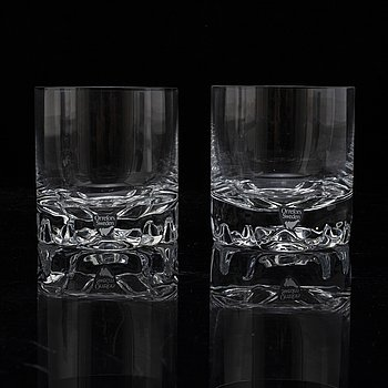 A set of eight whiskey glasses by Olle Alberius for Orrefors.