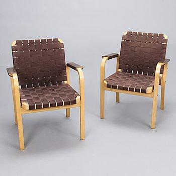 ALVAR AALTO, A pair of '45' armchairs for Artek late 20th century.