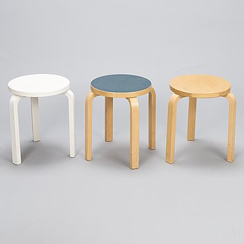ALVAR AALTO, three late 20th century stools for Artek.
