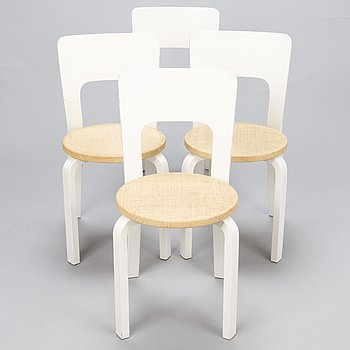 ALVAR AALTO, A set of 4 '66' chairs for Artek, Finland.