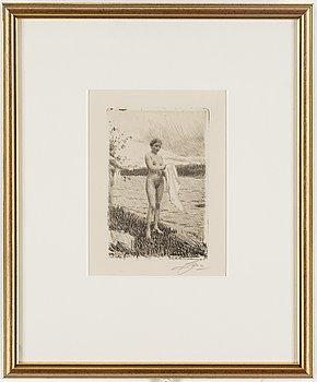 ANDERS ZORN, etsning signerad med blyerts och daterad 1919.