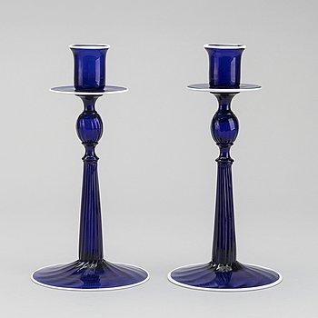 LJUSSTAKAR, ett par, troligen Göteborgs glasbruk 1800-tal.