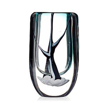 """10. Vicke Lindstrand, a """"Winter"""" glass vase, Kosta, Sweden 1950's."""