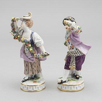FIGURINER, ett par, Meissen 1900-talets andra hälft porslin.
