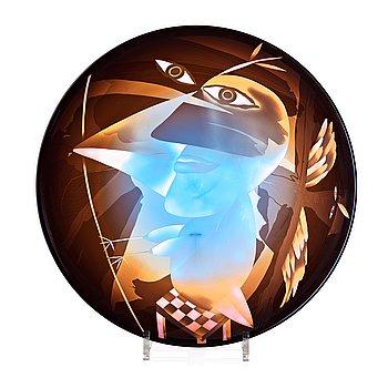 """15. Ann Wolff, a blasted glass bowl """"Goddess as bird"""", Transjö, Sweden 1980's."""