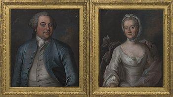 OKÄND KONSTNÄR, porträtt, ett par 1700-talets senare del, olja på duk.