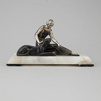 SKULPTUR, art deco, patinerad metall och onyx, 1900-talets första hälft.