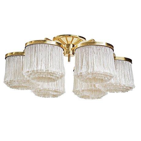 "Hans-agne jakobsson, a six shade model ""t-606"" brass and tassle ceiling lamp, markaryd, sweden 1960-70´s."